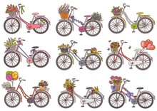 Vintage Bicycle Set With Floral Basket And Decorations - Retro Bike Collection