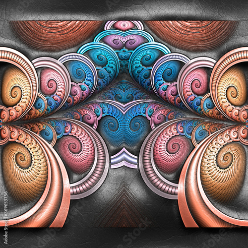 3D rendering of plastic background with embossed fractal on leather Canvas-taulu