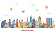 Barcelona Detailed Skyline. Vector Illustration