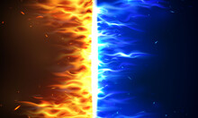 Fire Flames Versus VS Sign Exploding By Elements, Water Splashes And Lightning Burning Red Hot Sparks Realistic Abstract Background