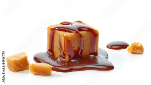 Obraz caramel candy with chocolate sauce - fototapety do salonu