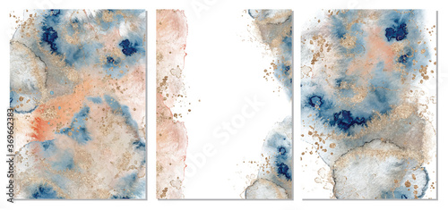 Photo Watercolor abstract classic blue, pink and gold, background, hand drawn watercol