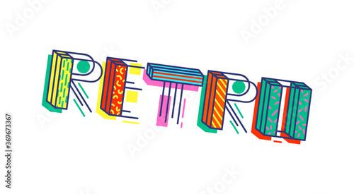 Obraz Retro colorful cartoon inscription vector illustration isolated on background. - fototapety do salonu