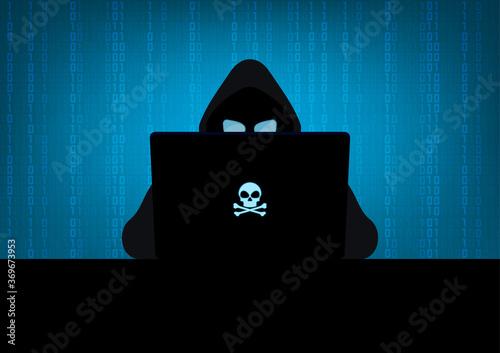 Obraz na plátně Silhouette of hacker wearing hood using laptop computer with glow in the dark bl