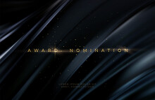 Awarding The Nomination Ceremony Luxury Black Wavy Background With Golden Glitter Sparkles. Vector Background
