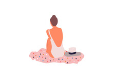 Elegant Woman In Hat Sitting On The Beach. Vector Flat Illustration Style.