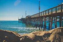 Pier On The Beach Of Balboa Island And Newport Beach In Southern California