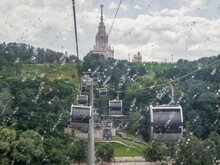 Rainy Day In Moscow. Cable Car...
