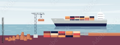 Sea ship port with cargo freight boat loaded with containers and crane Wallpaper Mural