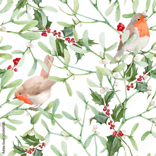 Photo Beautiful seamless pattern with watercolor mistletoe plant leaves with robin birds