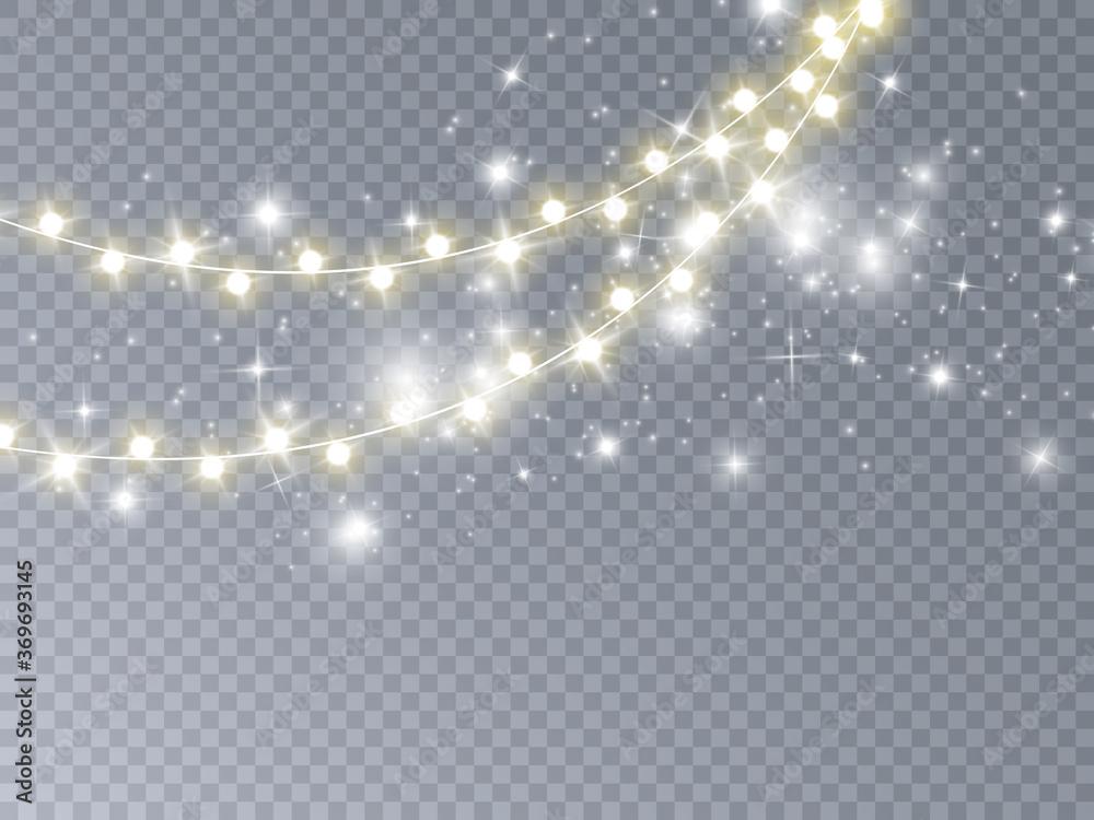Fototapeta Christmas lights isolated on transparent background. Vector illustration