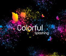 Abstract Colorful Splashing De...