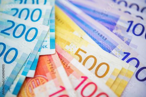 Fototapeta Variety Of New Norwegian Krone Banknotes.