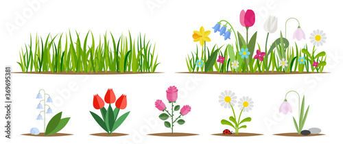 Obraz na płótnie Flower and grass flat icon set isolated on white