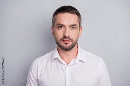 Fototapeta Close-up portrait of his he nice attractive content calm serious mature man qualified security manager wearing white shirt isolated over light gray pastel color background obraz na płótnie