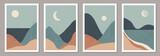 Zestaw modnych minimalistycznych krajobrazów abstrakcyjnych współczesnych wzorów kolażu