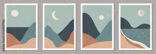 Fotografija Set of trendy minimalist landscape abstract contemporary collage designs
