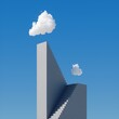 3d render, abstract cloudscape on a sunny day, white cloud hangs above the high concrete stairs, skyscraper under the blue sky. Modern minimal surreal background, challenge concept
