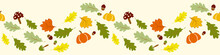 Autumn, Fall Leaves Border Seamless Pattern Concept Design For Seasonal, Thanksgiving