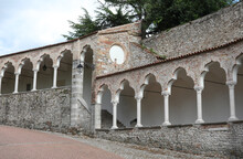 Ancient Arcades Of The Walkway To Reach The Castle Of The City O