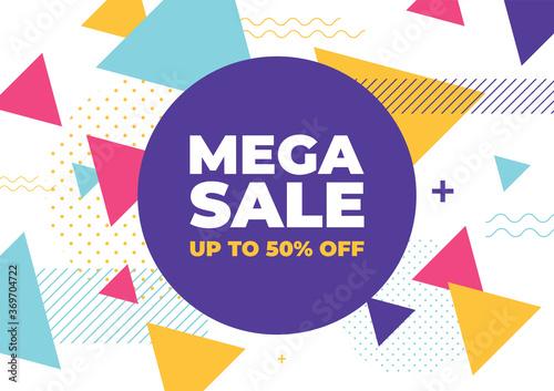Obraz Mega sale with colorful geometric shapes banner. - fototapety do salonu
