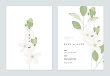 Floral Wedding Invitation Card Template Design, Orange Jasmine Flowers With Leaves On White