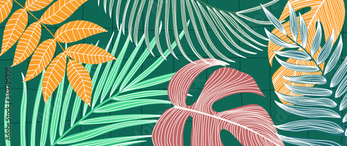 Luxury tropical leaf and nature line art ink drawing background vector Fototapet