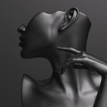 Black Mannequin And Elegant Hand For Earring Jewelry Presentation. Female Bust Sculpture Profile. 3d Rendering.
