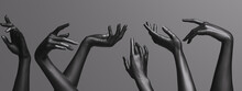 Many Female Hands Elegant Gesture, Black Mannequin Hands Up In A Row – Art Fashion Background. 3d Rendering