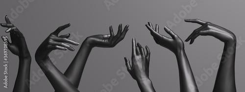 Fotografie, Obraz Many female hands elegant gesture, black mannequin hands up in a row – art fashion background