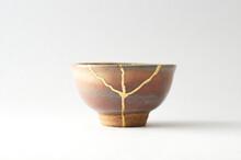 Japanese Kintsugi Ceramic Sake Cup, Restored With Real Gold. Antique Pottery Kintsukuroi.