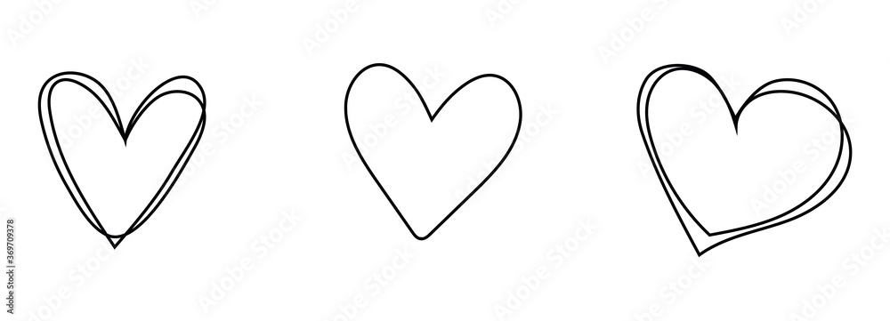 Fototapeta Hand drawn hearts set. Handdrawn rough heart marker isolated on white background. Vector illustration