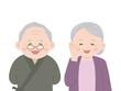 ほほ笑む老夫婦のイラスト
