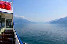 Ferry In Navigation With Passenger Car Transport In Lake Como  Bellagio Italy