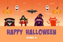 Children In Halloween Costume On Happy Halloween Banner.