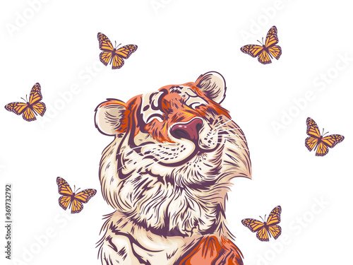 Fotografia, Obraz Cute Tiger with a big smile is looking at a butterfly