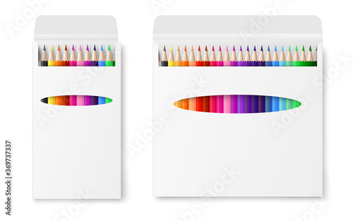Fotografia Two vector realistic boxes of colored pencils isolated on a white background