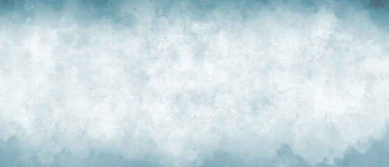 Watercolor background in blue and white painting with cloudy distressed texture grunge border, soft fog or hazy lighting and pastel colors