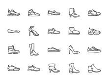 Minimal Line Shoes Icon Set