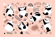 Set With Cartoon Funny Pandas, Cute Phrases And Elements. The Panda Sits, Eats, Lies, Tumbles. Bamboo Chinese Bear. Stock Vector Illustration. For Printing On Postcards, Office Supplies, Clothes.