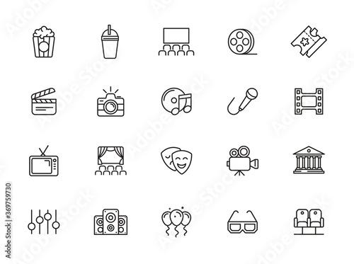 Foto minimal entertainment line icon set