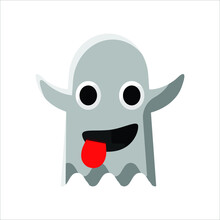 Ghost Funny Tongue Out Face Emoji Illustration Creative Design Vector