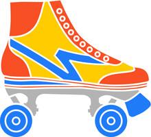 Vector Illustration Of The Vintage Roller Skate Shoe