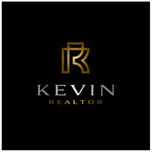 Golden Initial Letter R K, Gold Monogram RK KR Elegant Classic Luxury Premium Logo Design