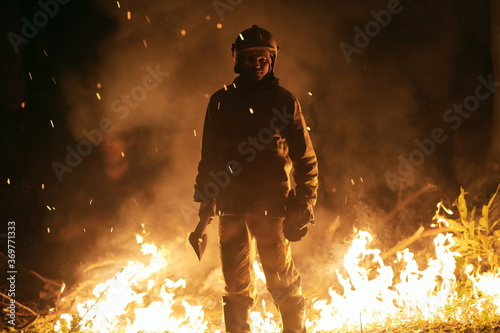Photo firefighter portrait