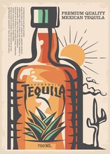 Mexican Tequila Poster Design Made For Bars And Pubs. Vector Image.