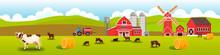 Farm Livestock Vector Landscape With Grazing Cows, Barn, Mill, Haystack, Meadow, Hills. Rural Farming Landscape With Livestock, Tractor, Water Tower, Red Village Buildings. Husbandry Flat Illustration