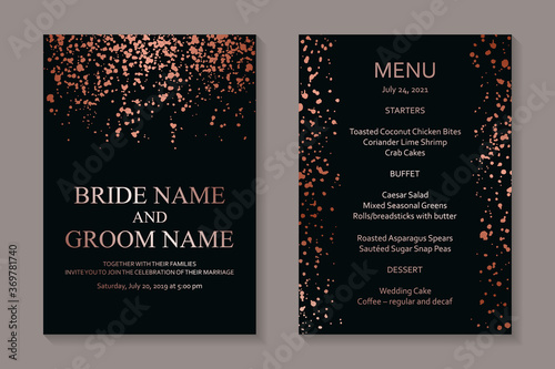 Modern grunge luxury wedding invitation design or card templates for business or poster or greeting with copper paint splashes on a black background Fototapete