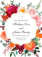Peachy And Coral Rose, Carnation, Burgundy Red Peony, Orange Ranunculus, Carnation, Autumn Leaves