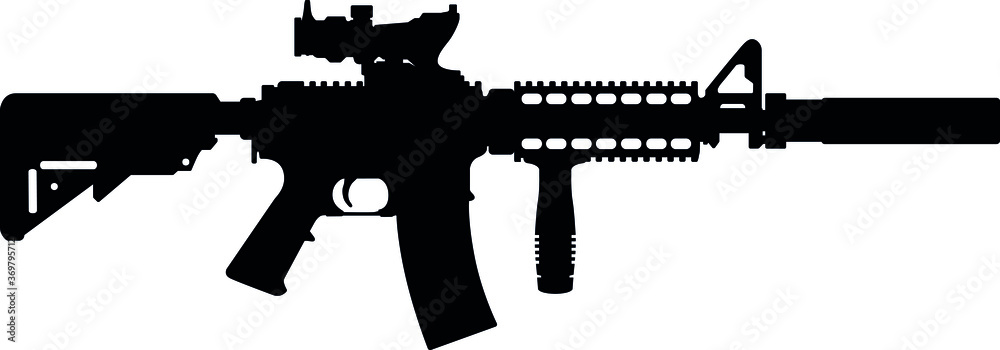 Fototapeta USA United States Army, United States Armed Forces  and United States Marine Corps - Police fully automatic machine gun Colt M4 / M16 Carbine Caliber 5.56mm. Silhouette